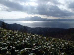 支笏湖に、寄り添うように浮かぶ風不死と樽前山も、この角度からみるとまた好し