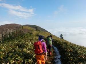 青空も広範囲に広がり、登山道もクッキリ見えて、とても気持ち良い登山!