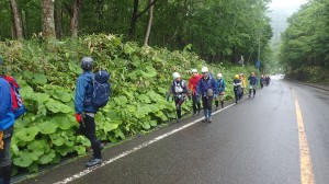 ミーティング終わって、林道までの移動。雨がパラパラ降ってきた~☔